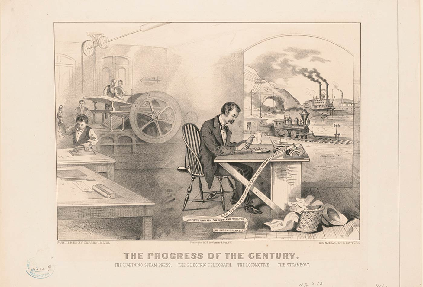 """The progress of the century: The lightning steam press, the electric telegraph, the locomotive, [and] the steamboat,"" by Currier & Ives, circa 1876."