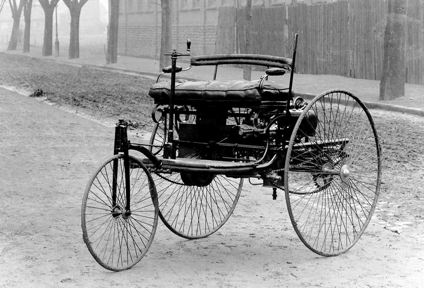 The original Benz Patent-Motorwagen, first built in 1885 and awarded the patent for the concept.