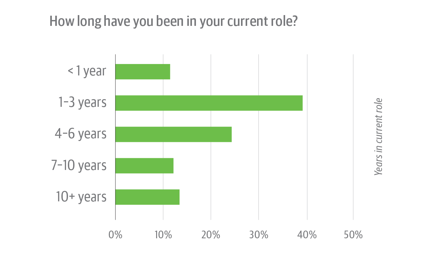 Time in current role of survey respondents