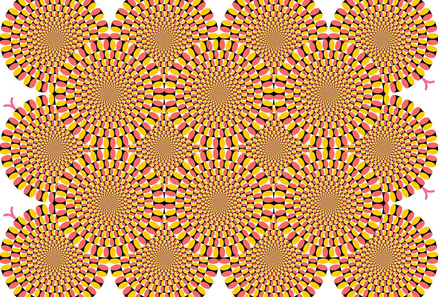 An optical illusion similar to Rotating Snakes by Kitaoka Akiyoshi.