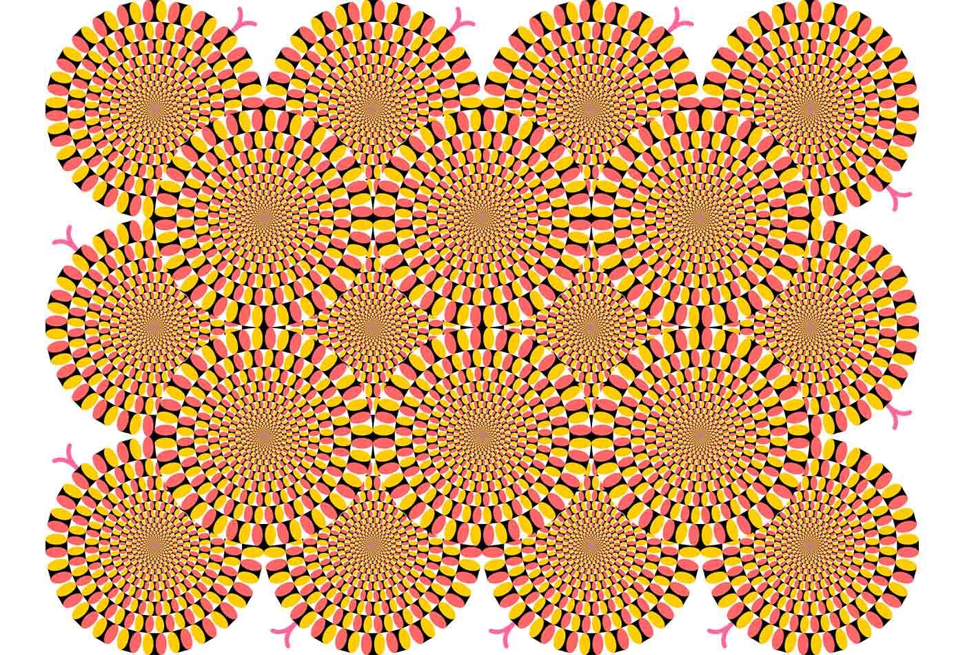 An optical illusion similar to Rotating Snakes by Kitaoka Akiyoshi.