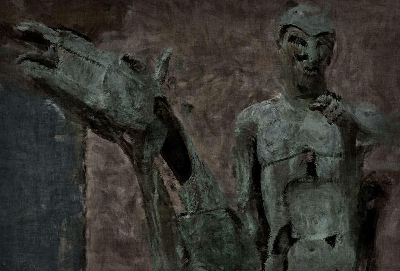 """Horseman of The Apocalypse: """"War,"""" Bruges, Belgium. One of four bronze sculptures by Rik Poot."""