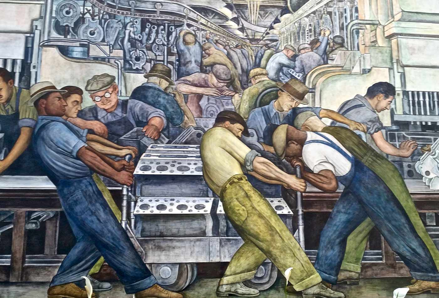 Detail, Detroit Industry Murals by Diego Rivera, at the DIA