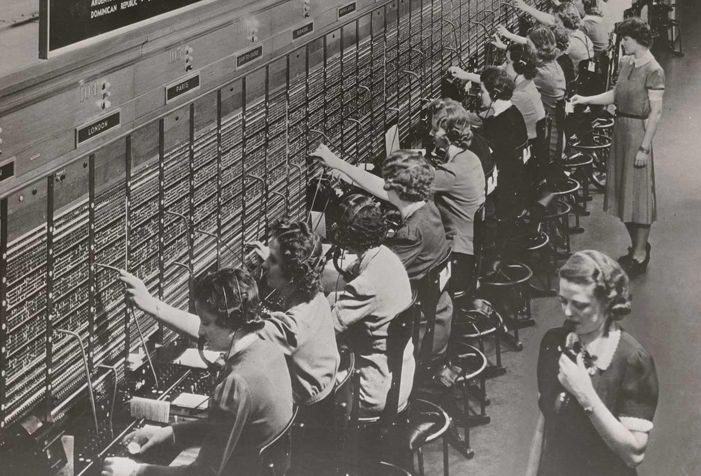 Photograph of Women Working at a Bell System Telephone Switchboard, circa 1945.