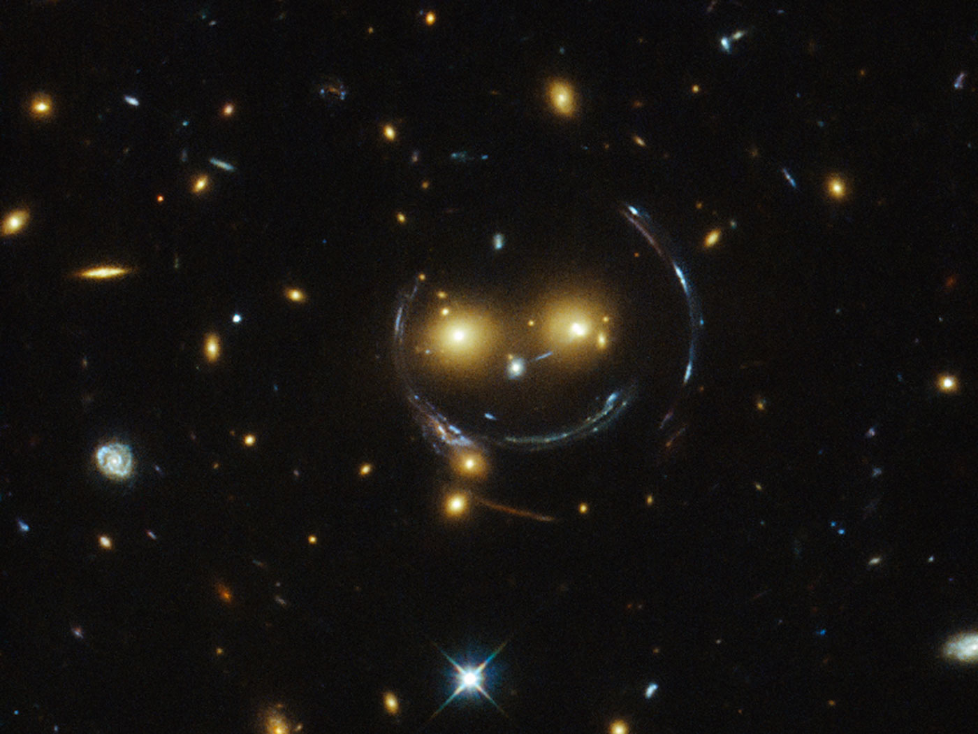 gravitational lensing and a galaxy cluster