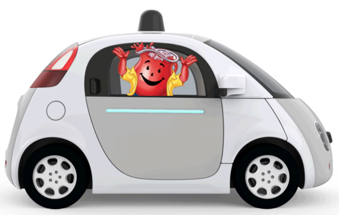 Mr. Kool-Aid Man in a Google Self-Driving Car
