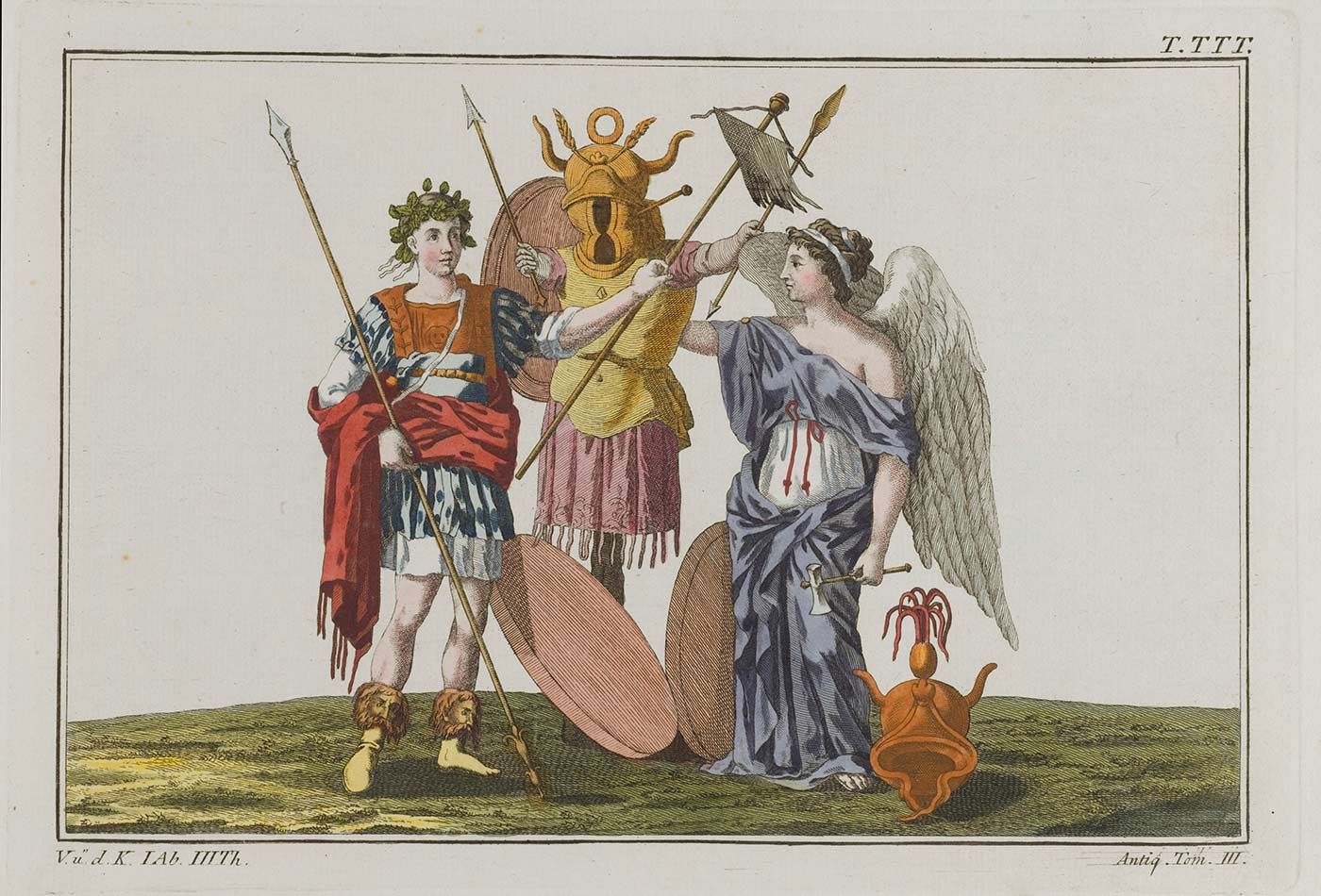 A Roman trophy. Coloured engraving, ca. 1804-1811.