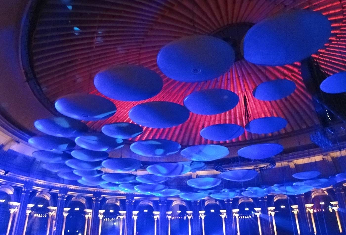 Acoustic discs suspended from the roof of London's Royal Albert Hall.