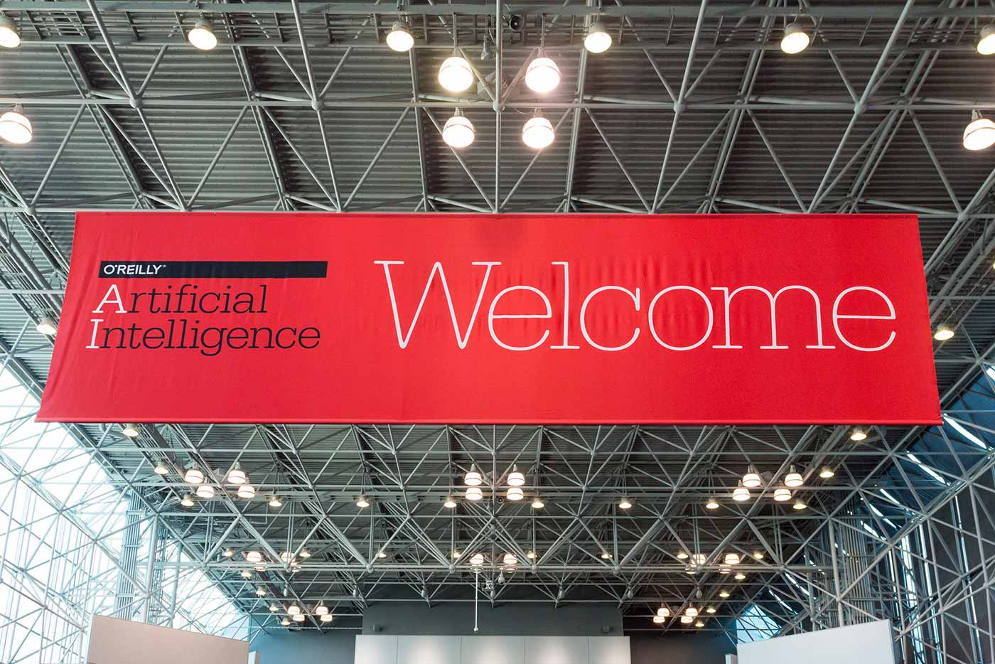 Welcome sign at O'Reilly AI Conference 2016
