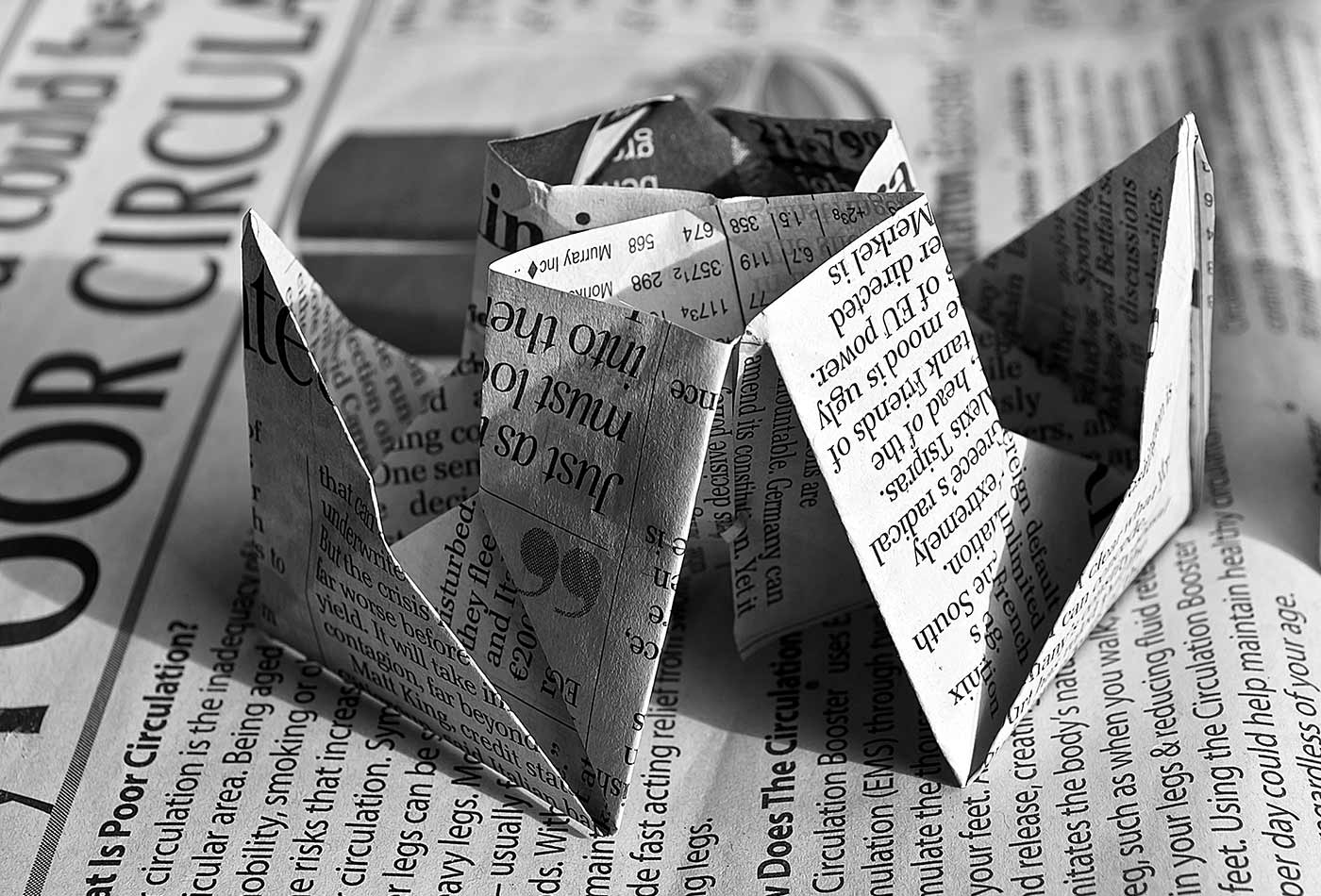 Newspaper oragami.