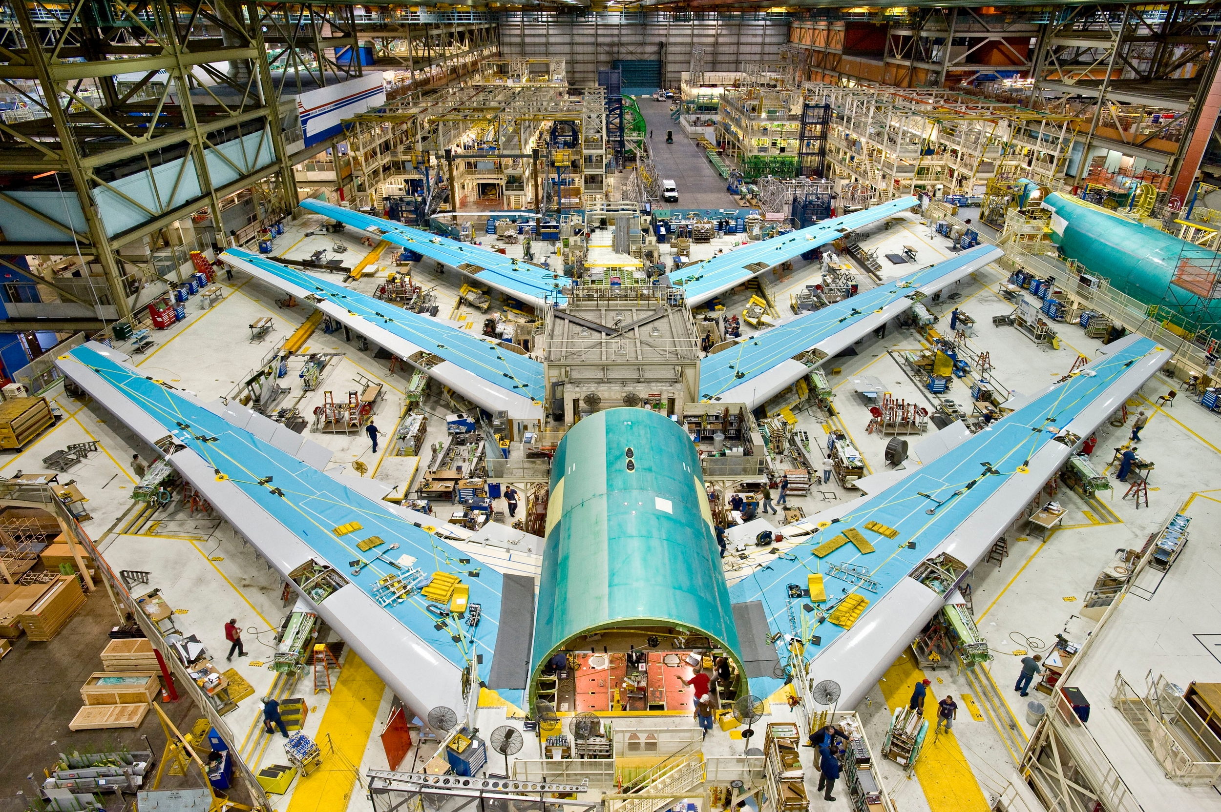 Boeing 747-8 wing-fuselage sections during final assembly
