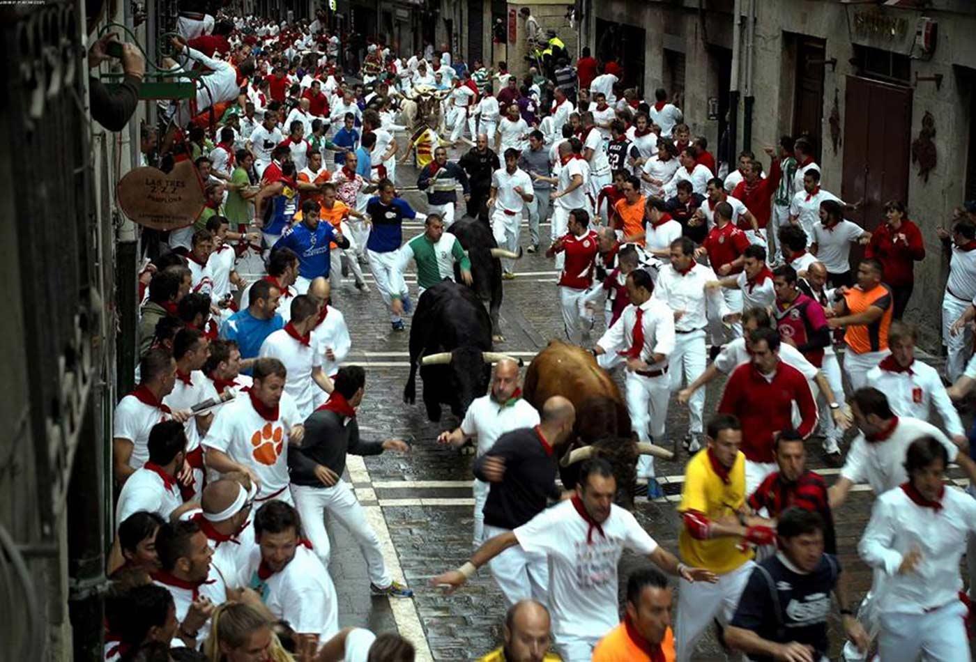 Pamplona bull run.