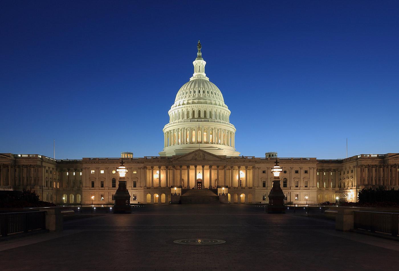 US Capitol at dusk.