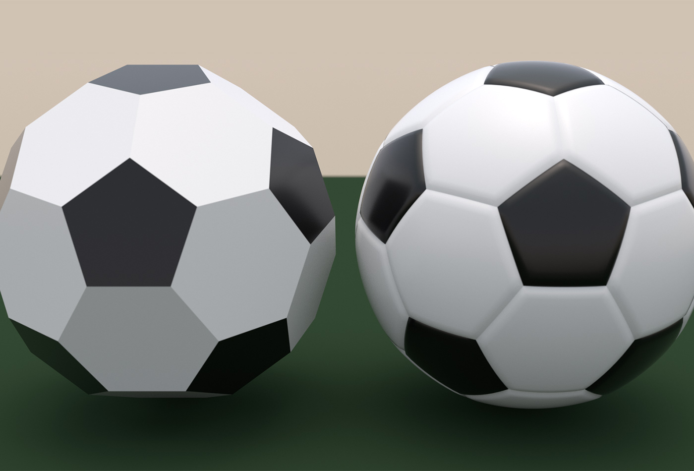 Comparison of a truncated icosahedron and a soccer ball