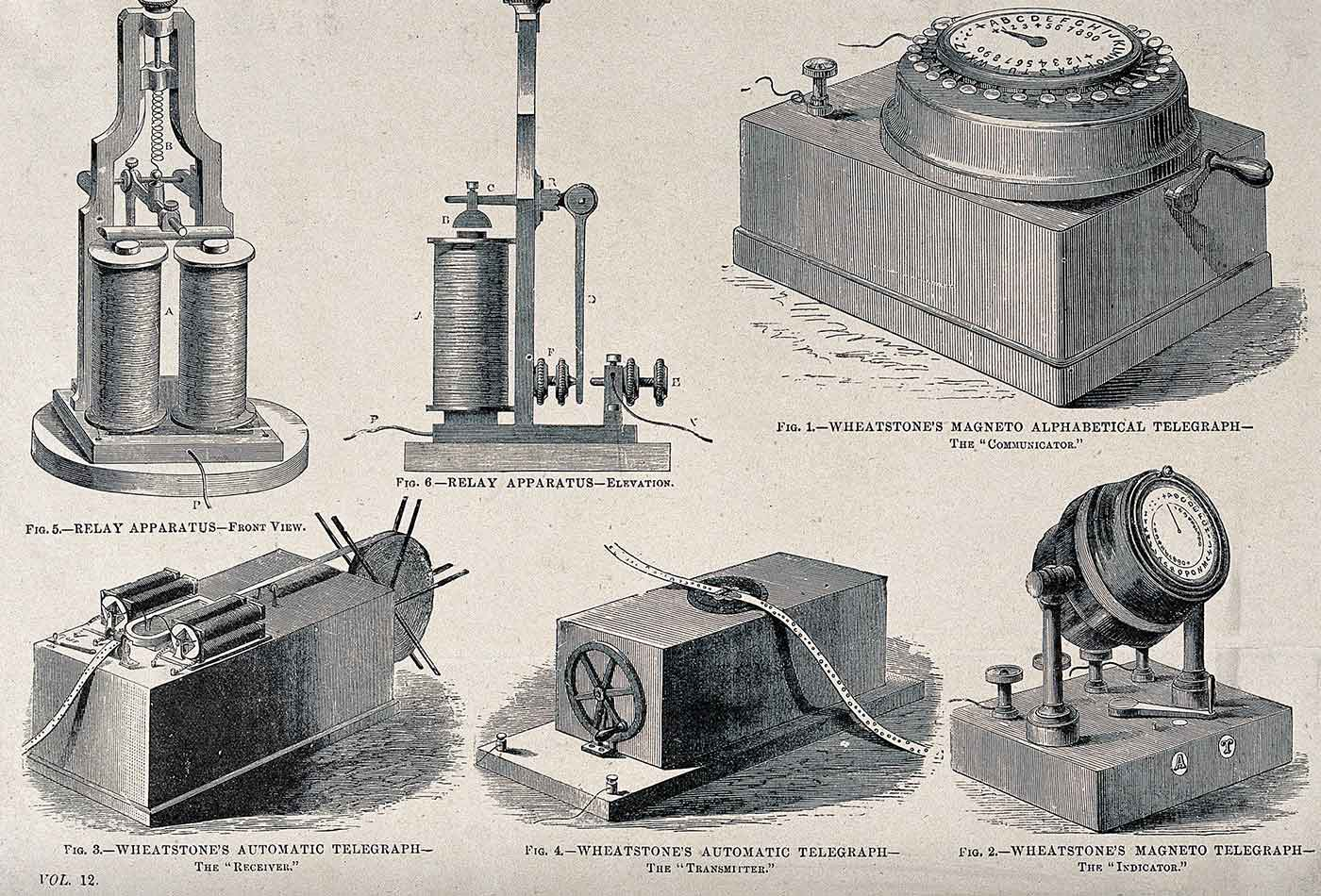 Components of the electromechanical telegraph network.