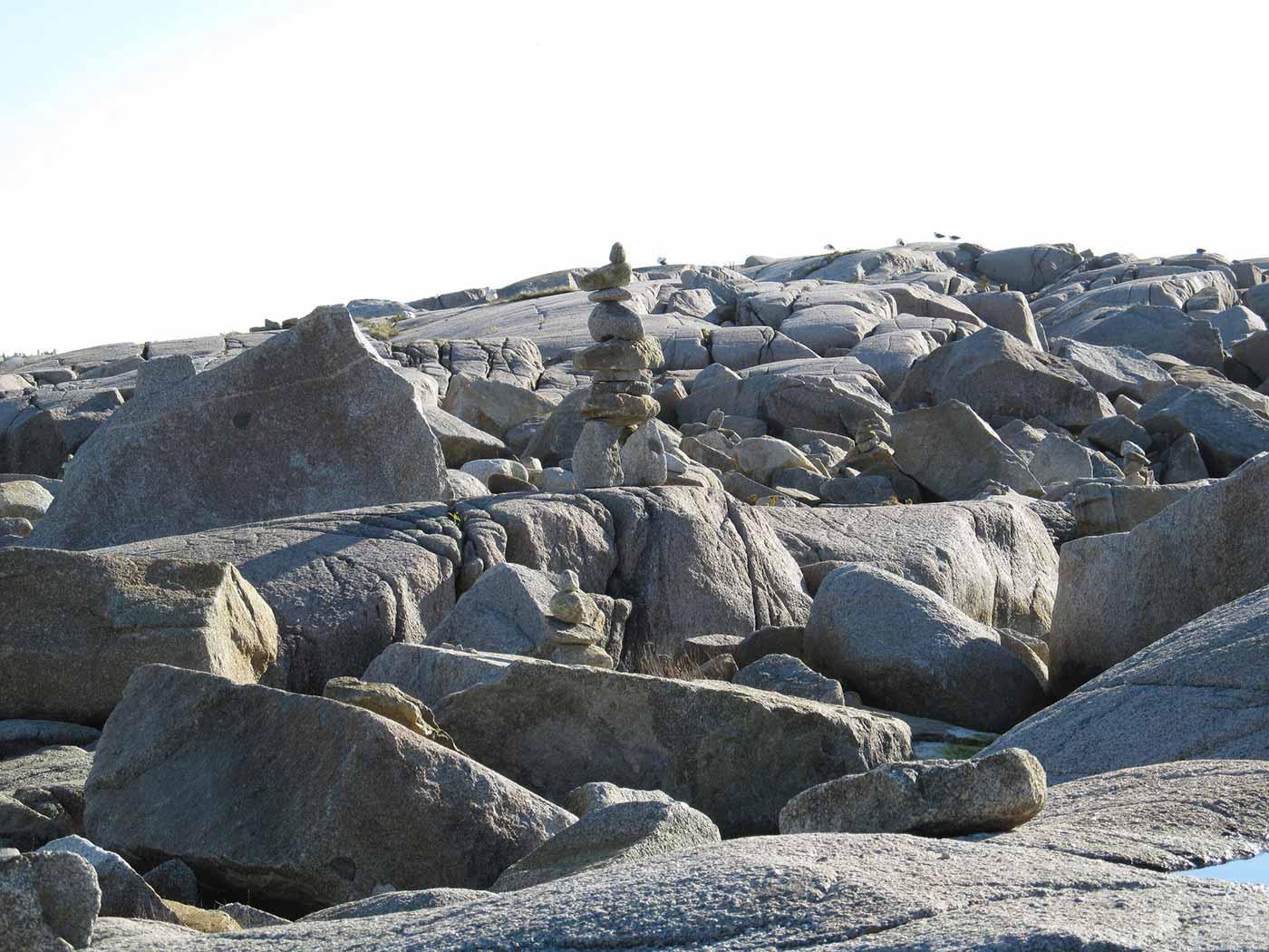 Cairn on rocks.