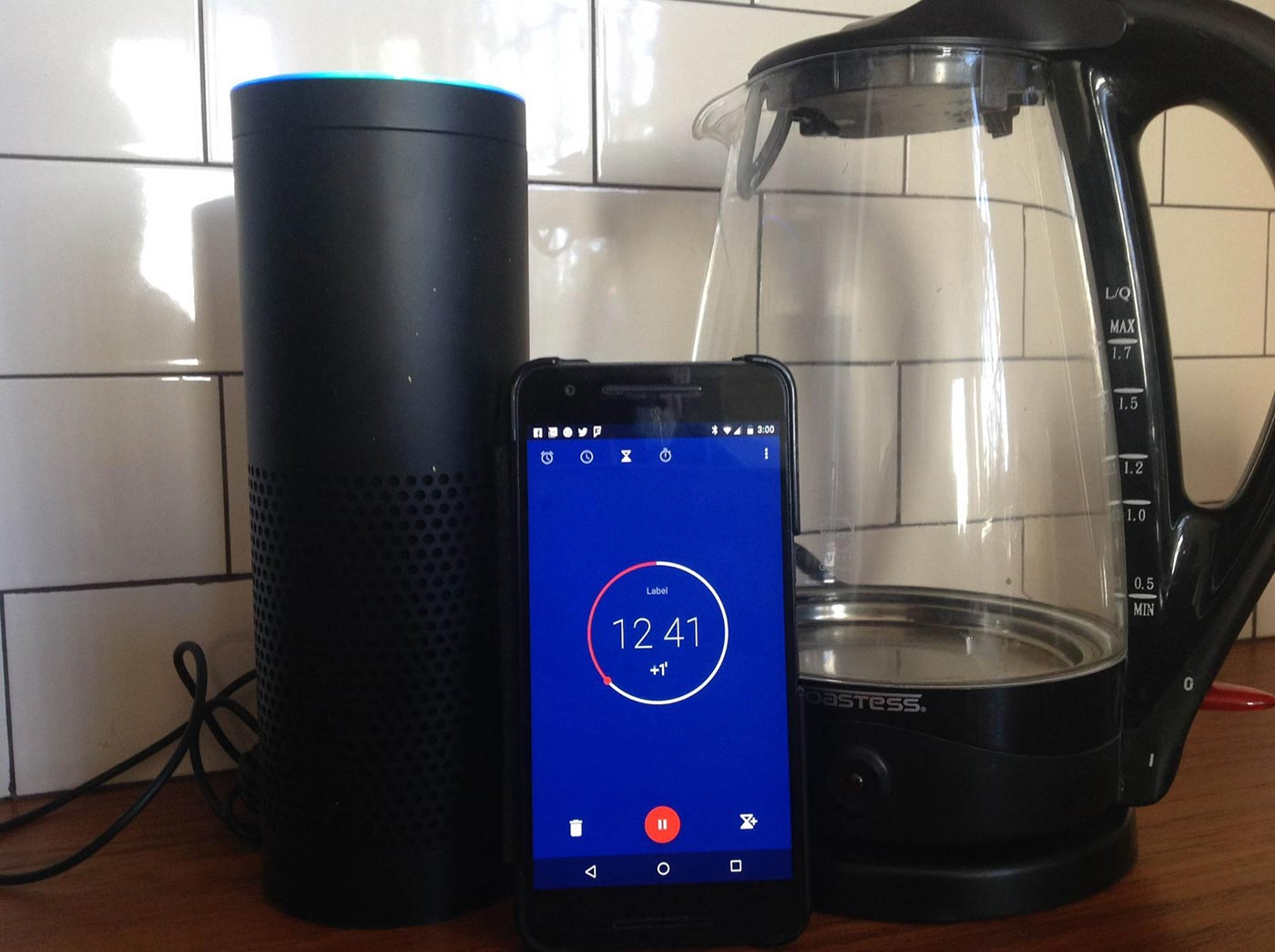 Tim O'Reilly's Alexa, his Nexus 6P, and his kettle. It's his kitchen's attack on the cell phone OS.