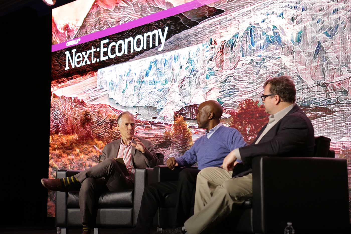 Tim O'Reilly, James Manyika, and Reid Hoffman at Next:Economy 2016.