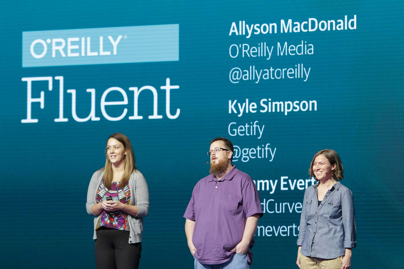 L to R: O'Reilly Fluent Conference chairs Ally MacDonald, Kyle Simpson, and Tammy Everts.