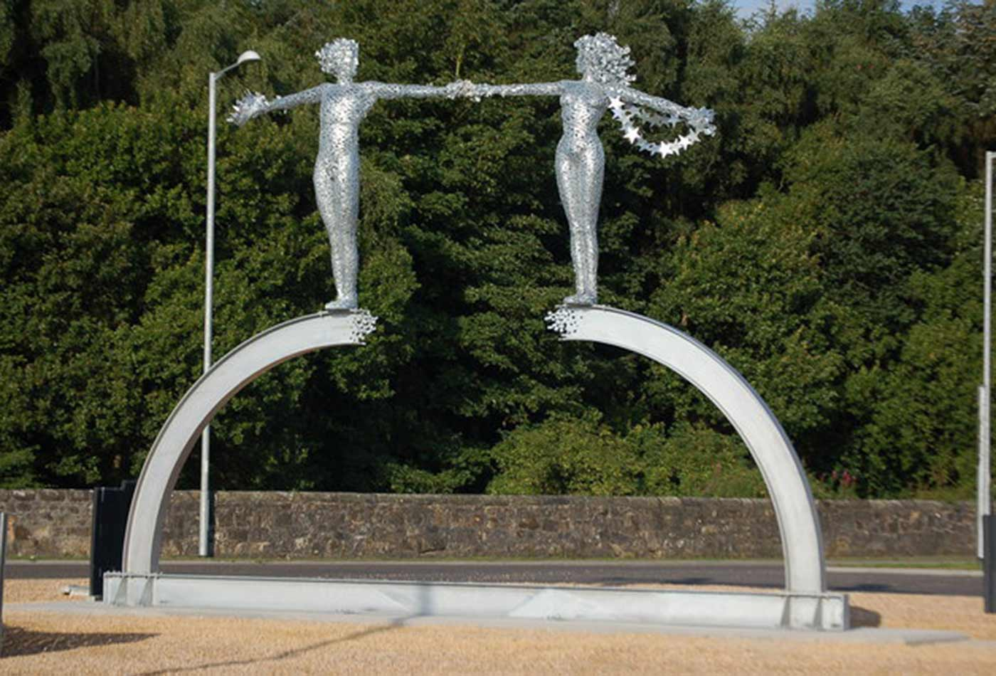 Sculpture by Andy Scott, one of several at roundabouts in Clackmannanshire.