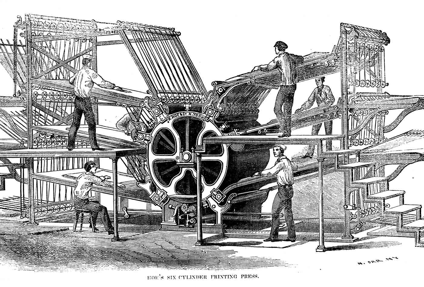 Richard March Hoe's printing press—six cylinder design