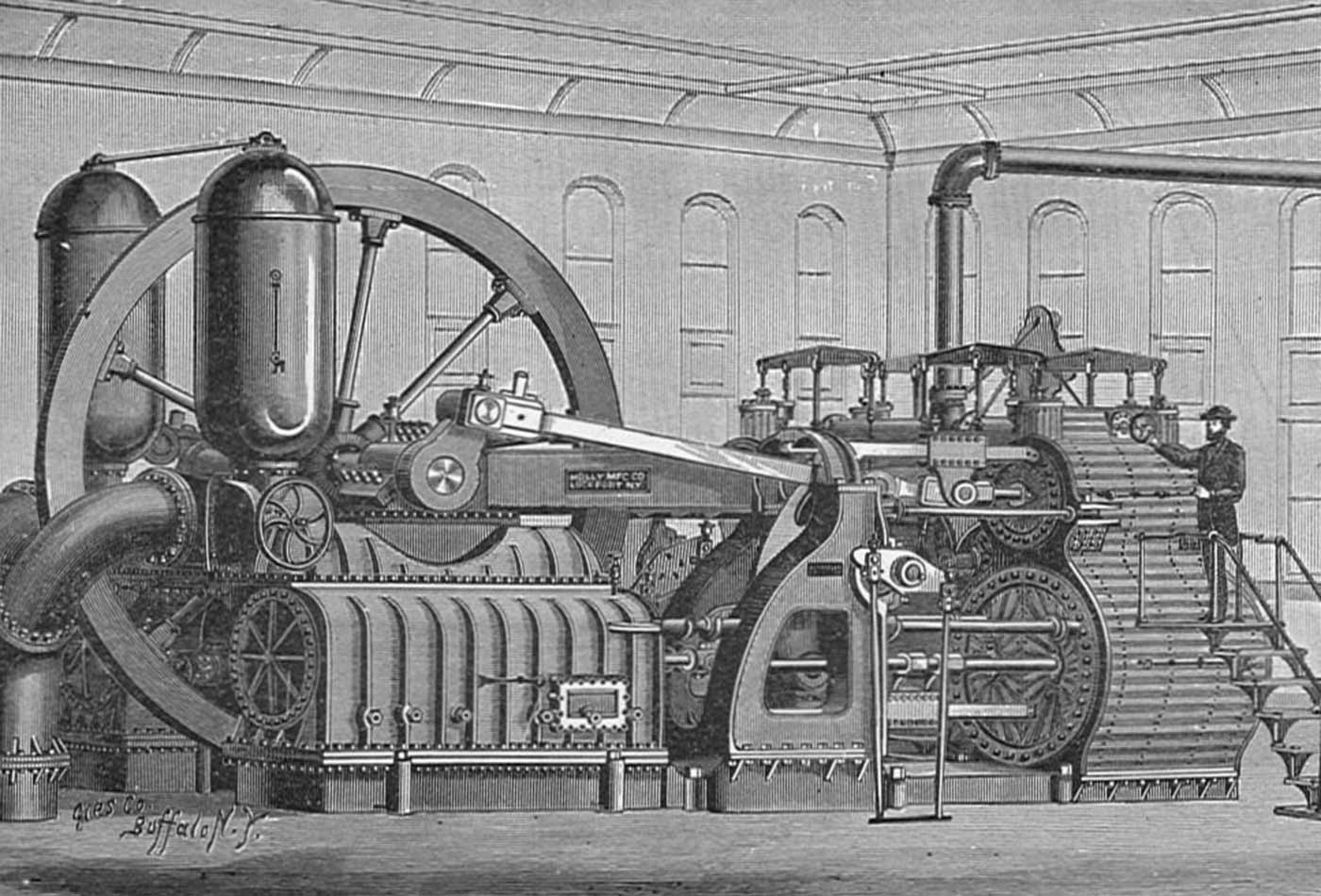 """Holly pumping engine (""""New Catechism of the Steam Engine,"""" 1904)."""