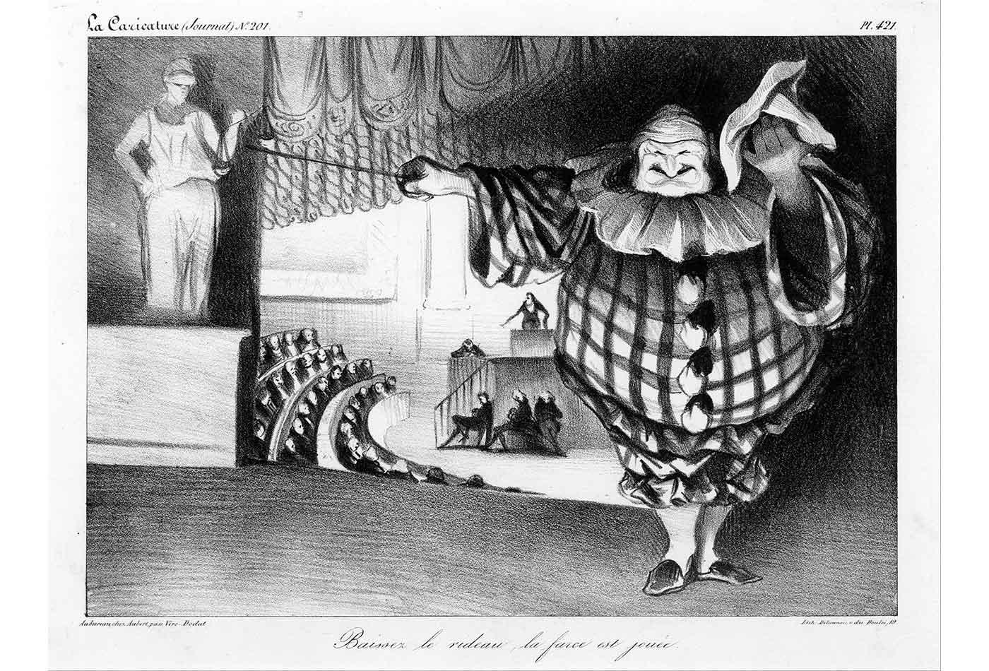 """""""Baissez le rideau, la farce est jouée,"""" by Honoré Daumier, 1834"""