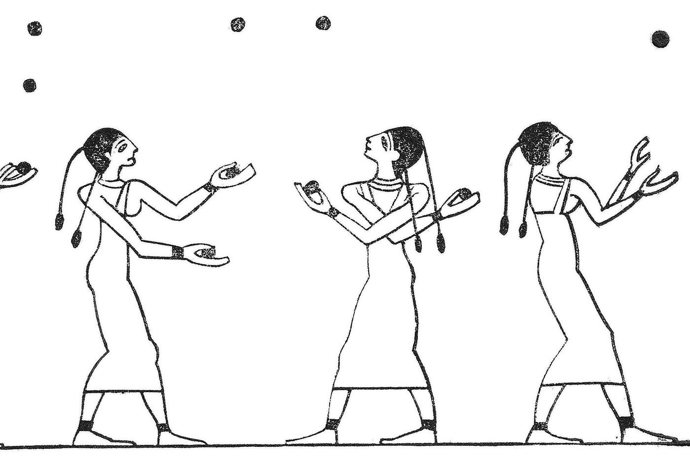 """""""Egyptian women, playing with ball,"""" from """"Illustrerad verldshistoria utgifven av E. Wallis. band I."""""""