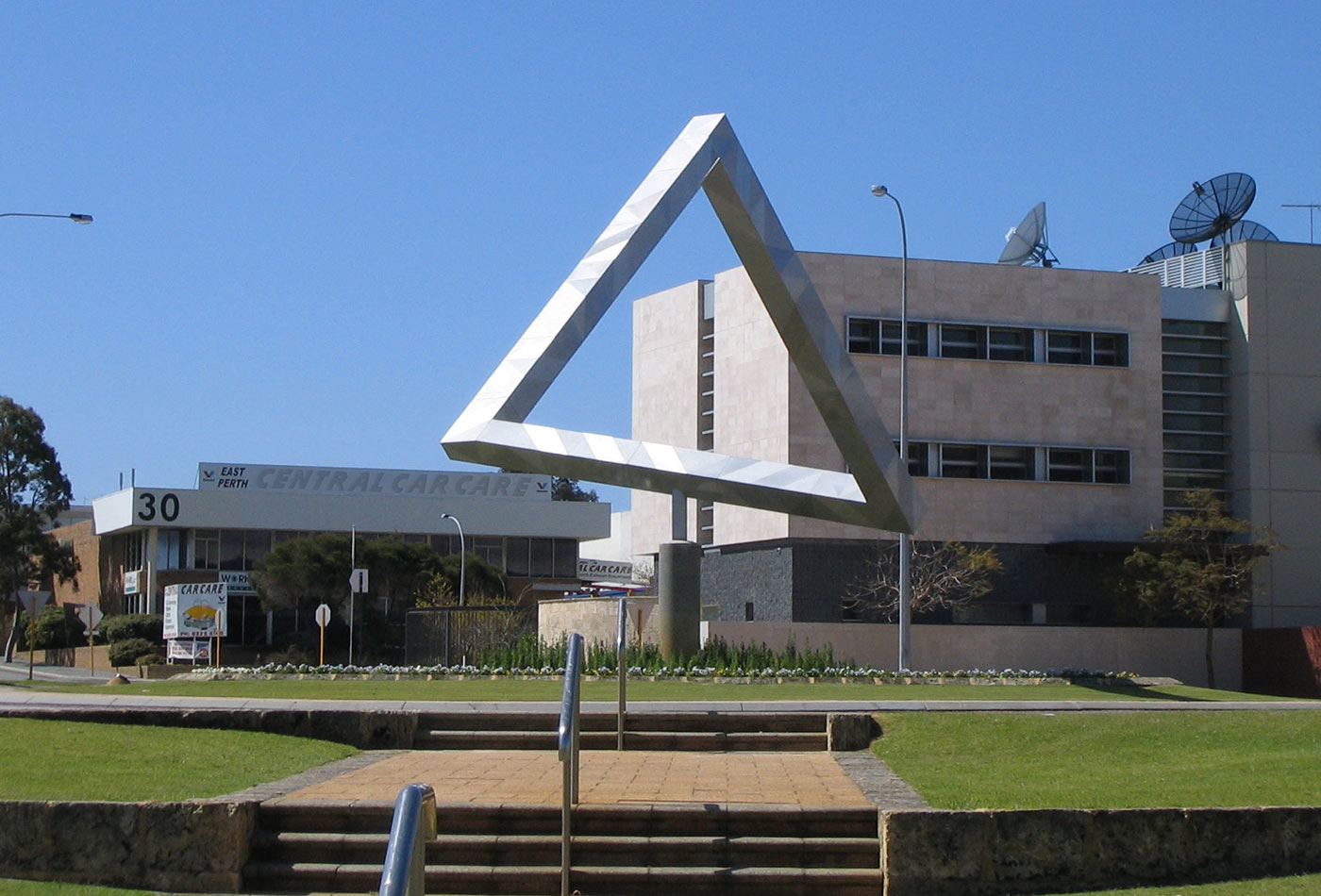 """Impossible Triangle,"" sculpture by Brian MacKay and Ahmad Abas, Claisebrook roundabout, East Perth, Western Australia."