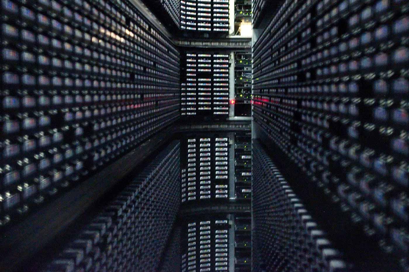 Interior of StorageTek tape library at NERSC.