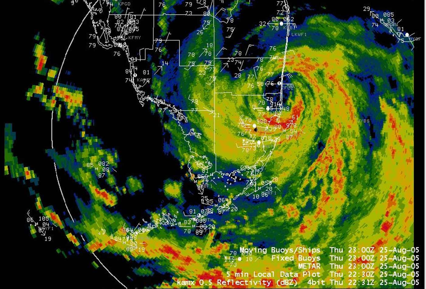 Radar reflectivity image while Katrina was crossing the coast, from August 25 at 6:31 PM EDT.