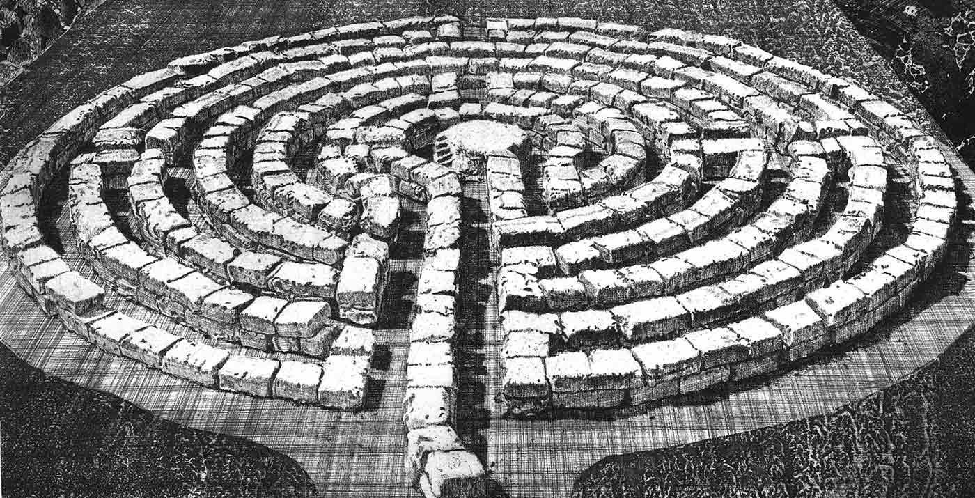 Labyrinth 28 etching.