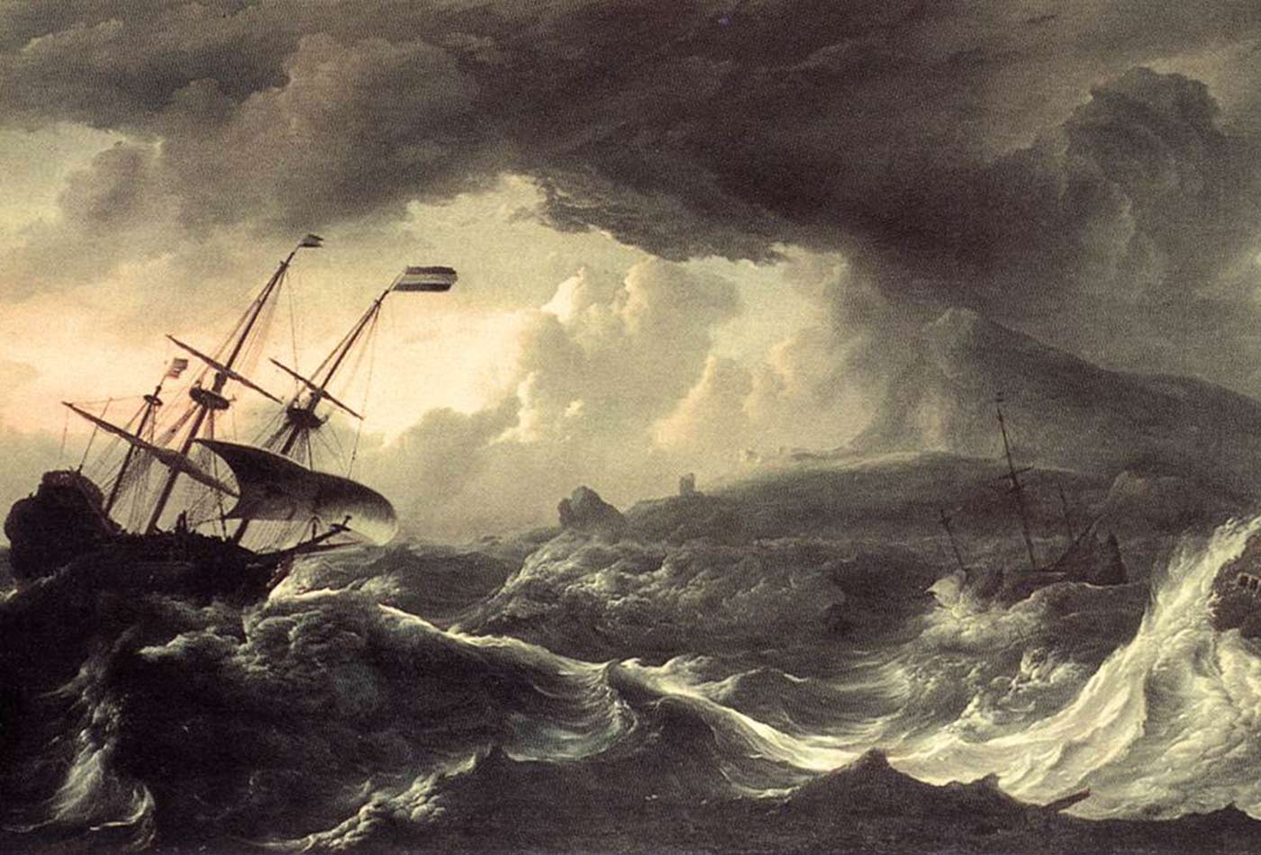 """Ships Running Aground in a Storm,"" Ludolf Bakhuizen, 1690s."