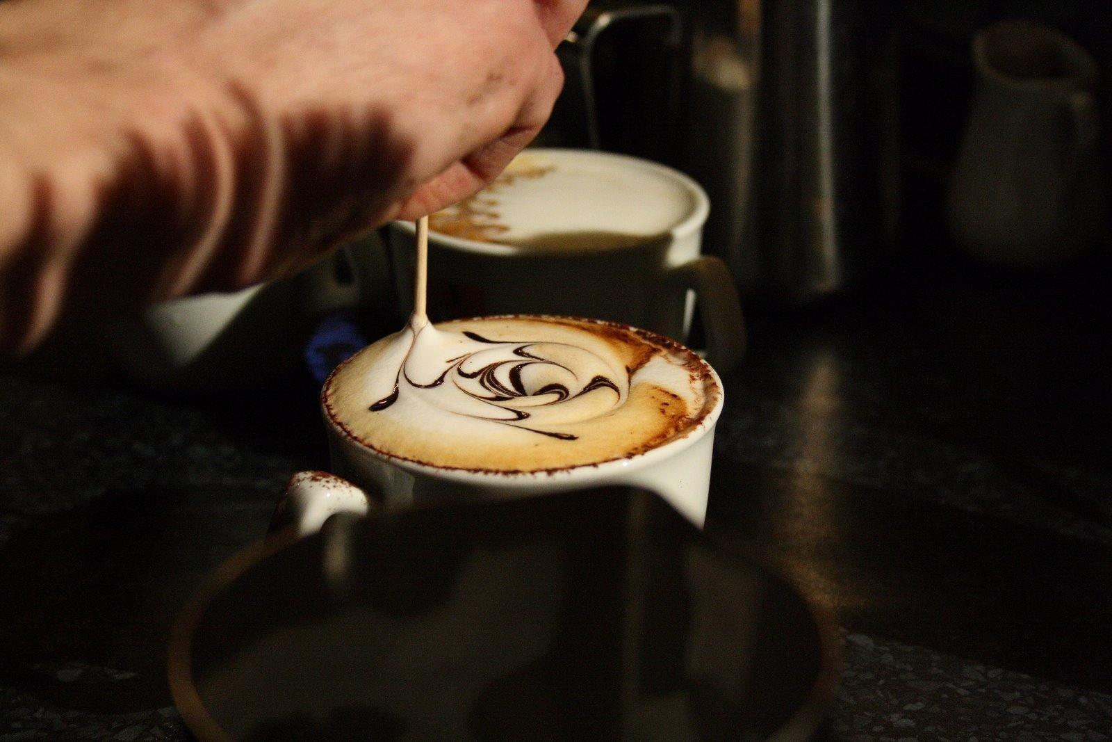 The making of latte art.