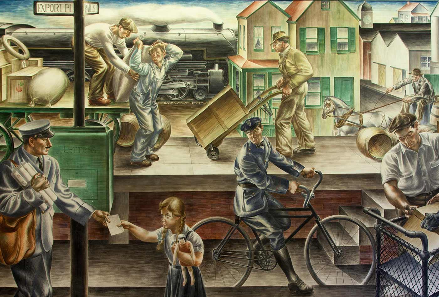 "Photograph of mural ""Transportation of the Mail,"" by Alfredo de Giorgio Crimi, 1937."