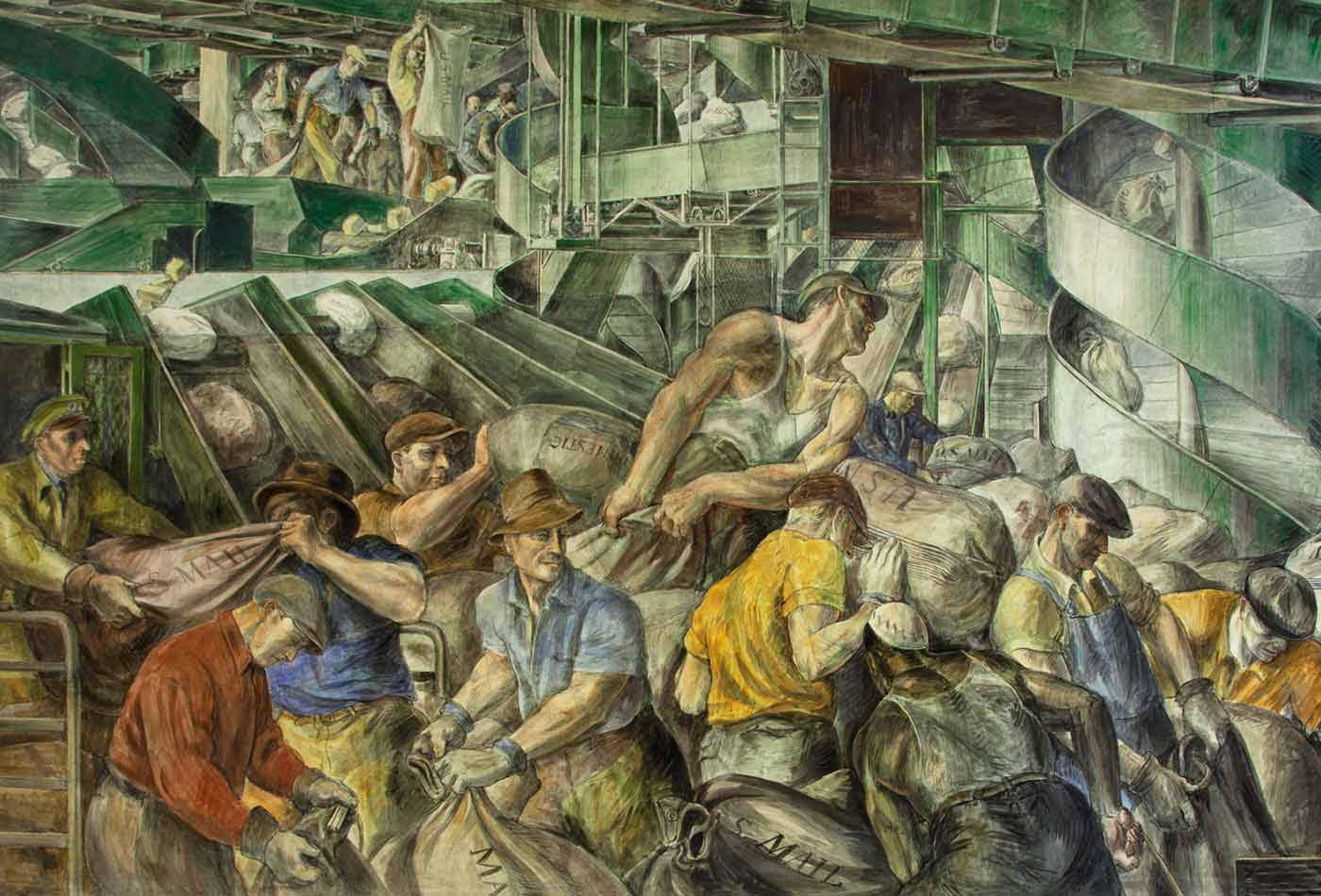 "Photograph of mural ""Sorting the Mail"" by Reginald Marsh at the Ariel Rios Federal Building, Washington, D.C."
