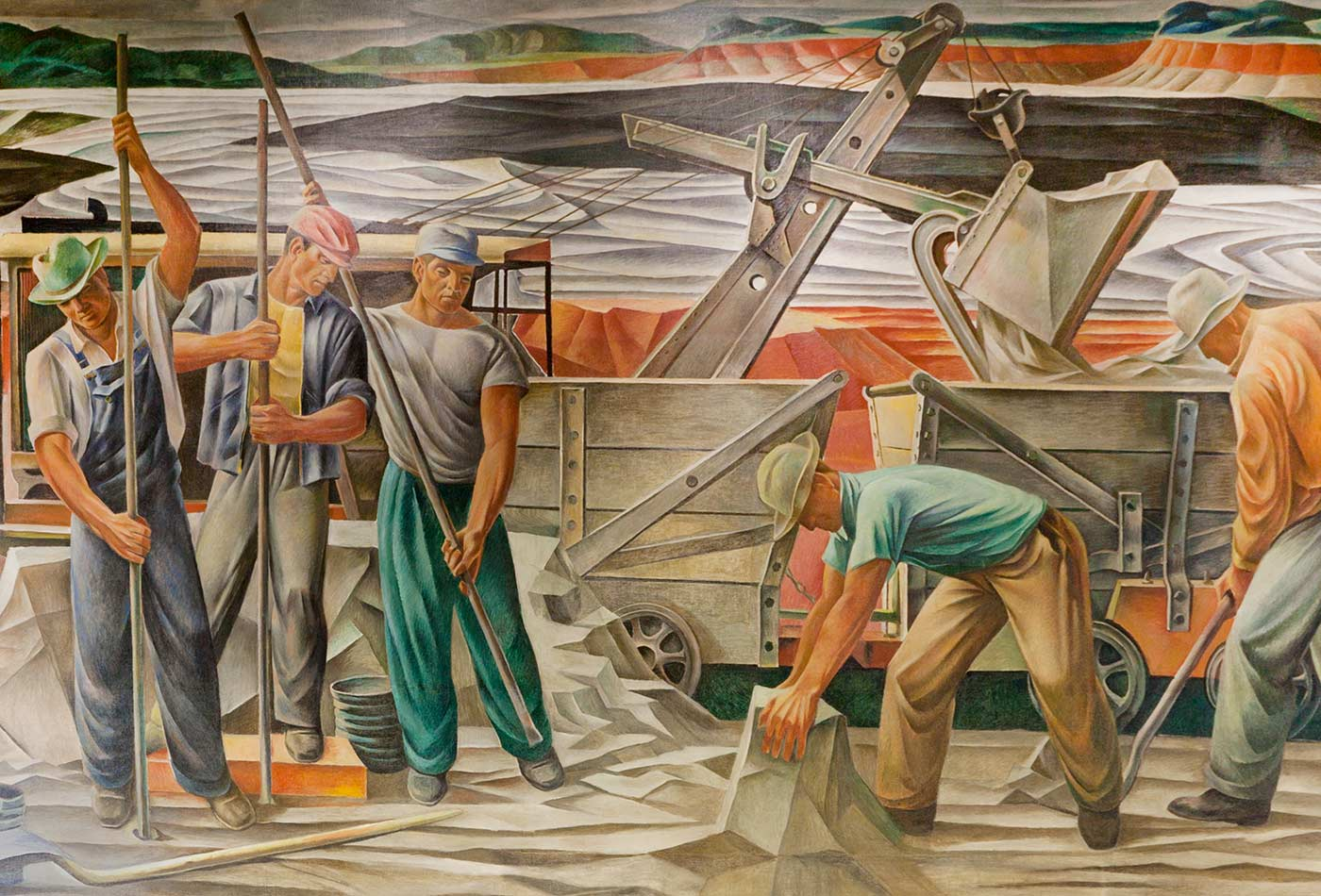 "Photograph of mural ""The Bauxite Mines"" (1942) by Julius Woeltz, located in the Saline County Courthouse in Benton, Arkansas; originally installed in the U.S. Post Office in Benton, Arkansas."
