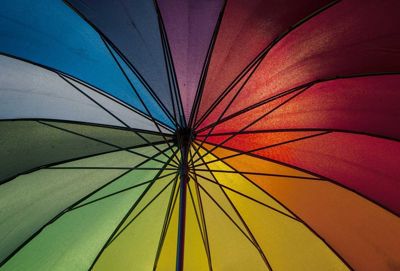 Rainbow parasol.