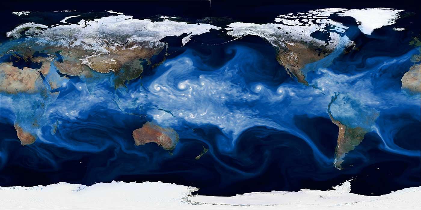 Visualization of water vapor.