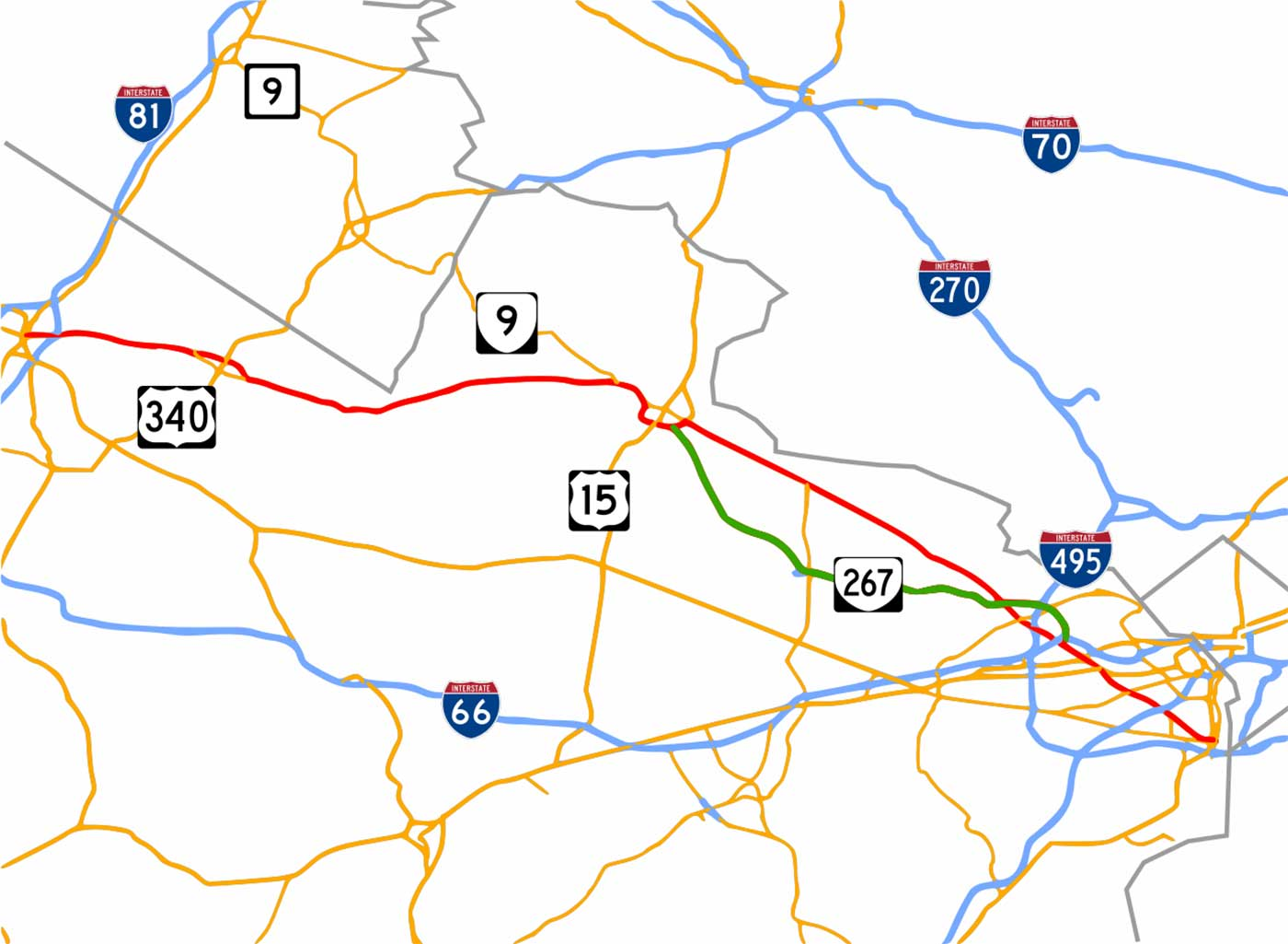 Map of Virginia State Route 7.
