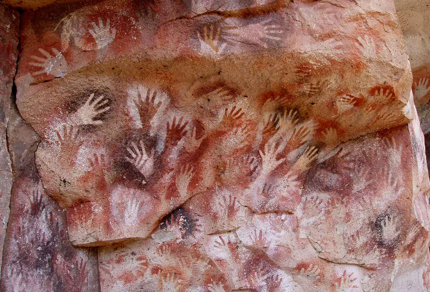 Hands at the Cuevas de las Manos upon Río Pinturas.