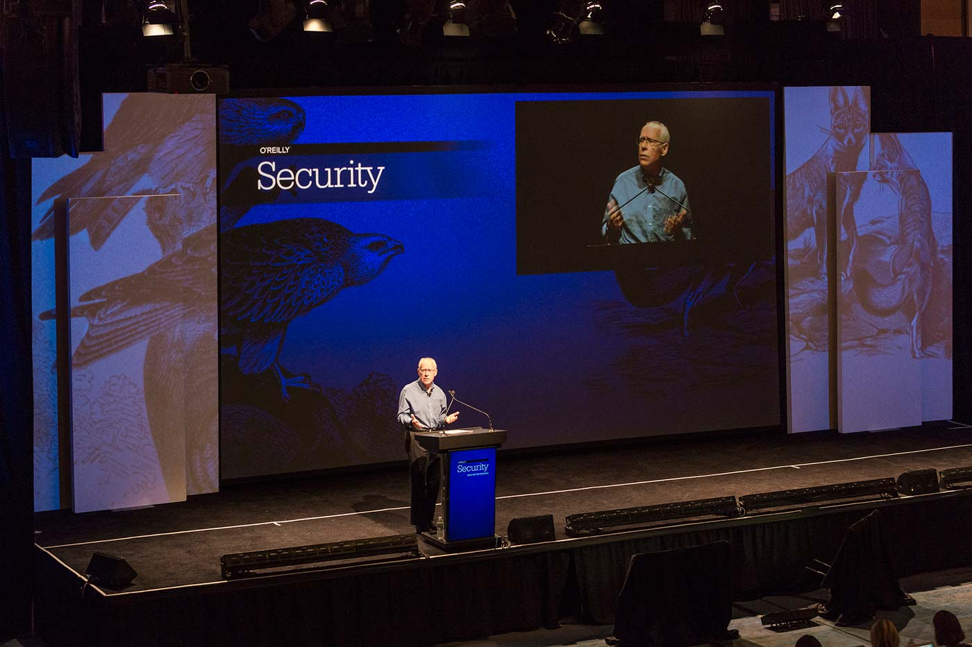 Keynote stage at the O'Reilly Security Conference in New York