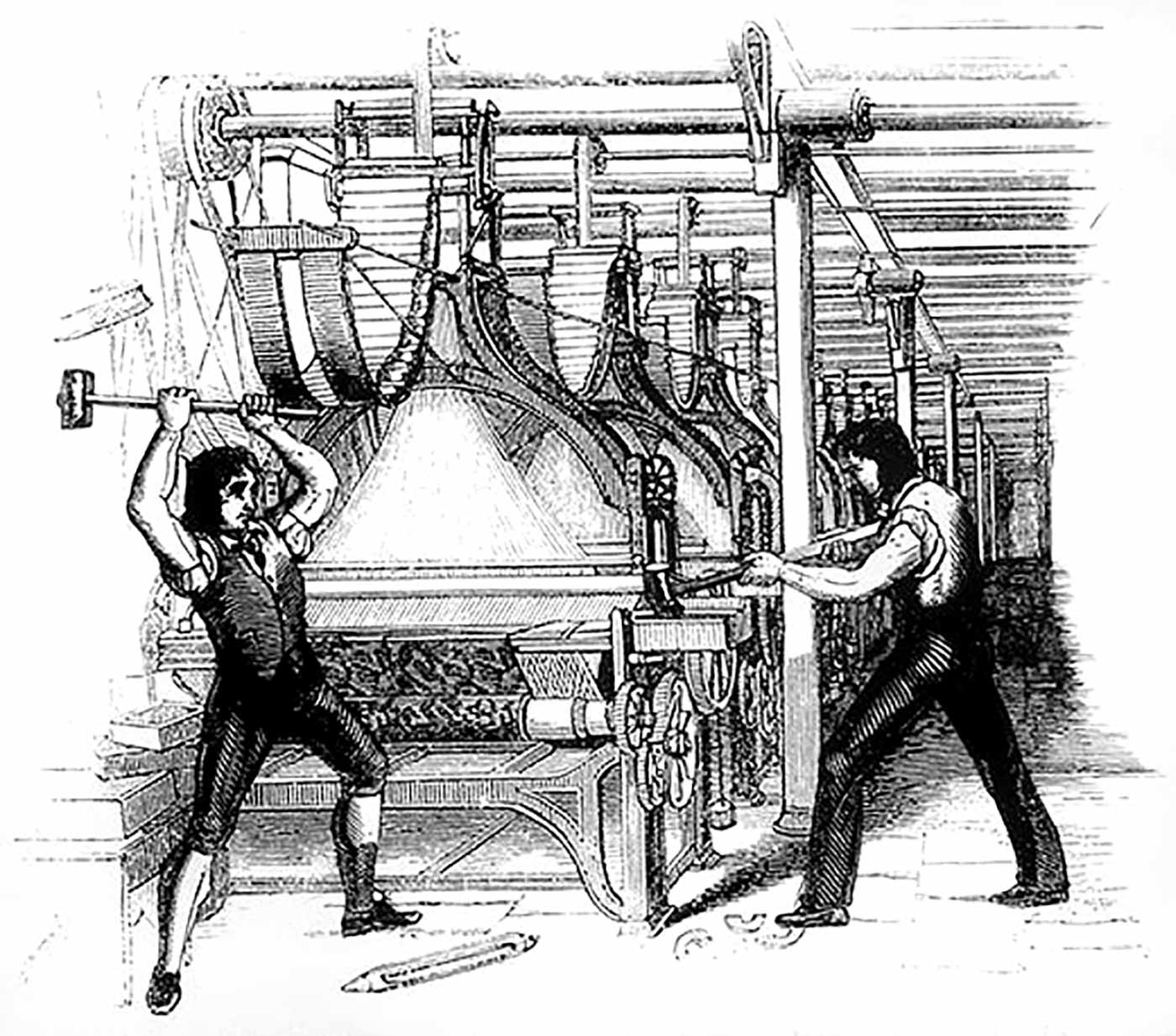 Frame-breakers, or Luddites, smashing a loom.