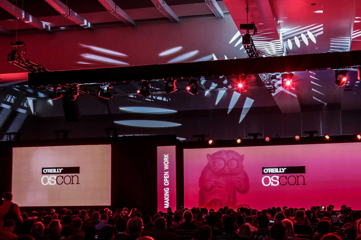 The stage at the O'Reilly OSCON Conference in Austin