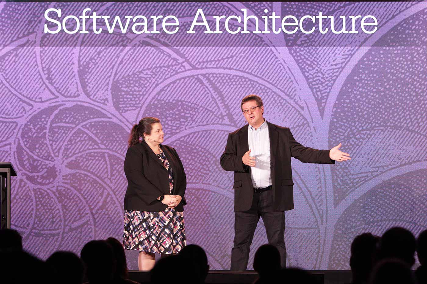 Rachel Roumeliotis (left) and Neal Ford (right) at the O'Reilly Software Architecture Conference in San Francisco.