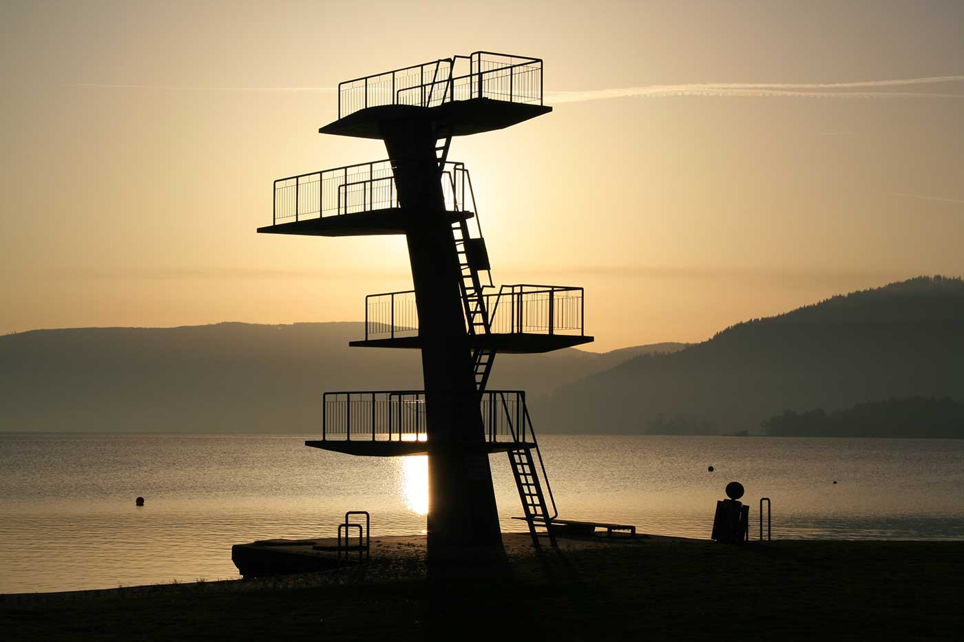 Diving platform from lido Seewalchen (Austria).