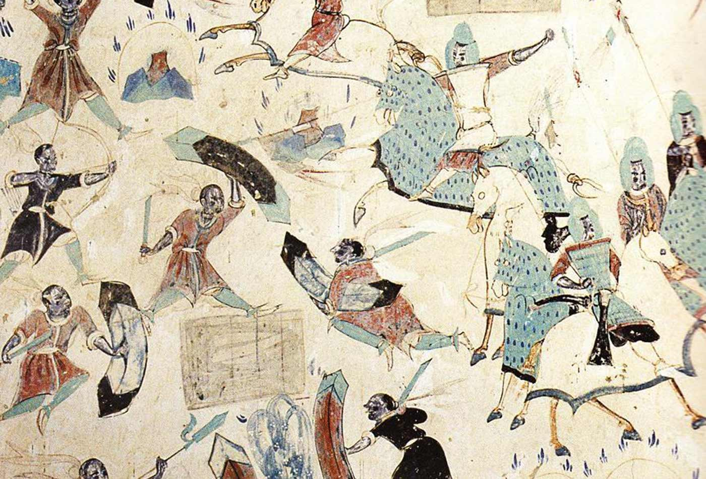 A depiction of the Avadana story of the Five Hundred Robbers showing soldiers wearing medieval Chinese armour, from Mogao Cave 285, Dunhuang, Gansu, China.