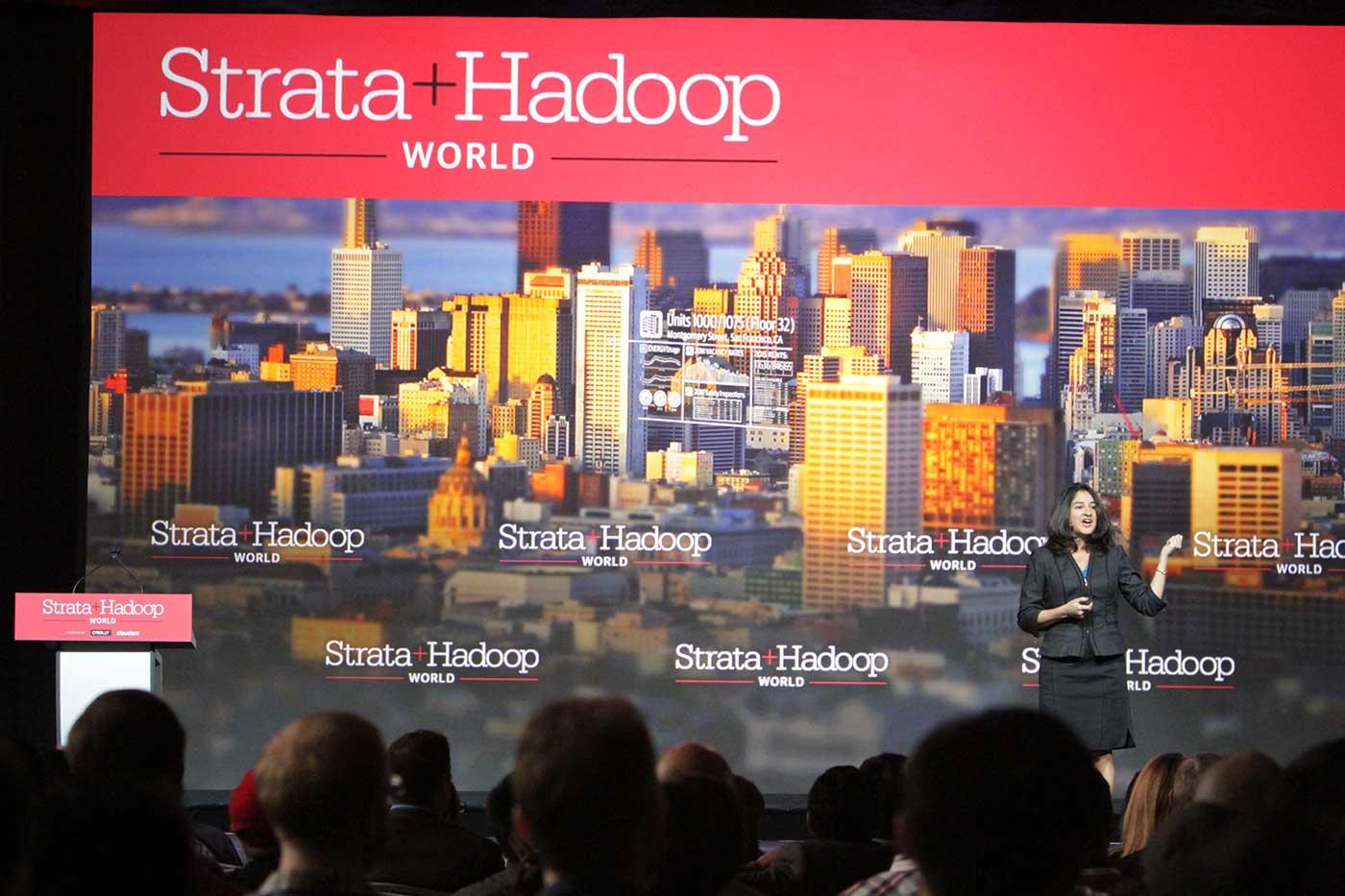 Strata + Hadoop World keynote stage.