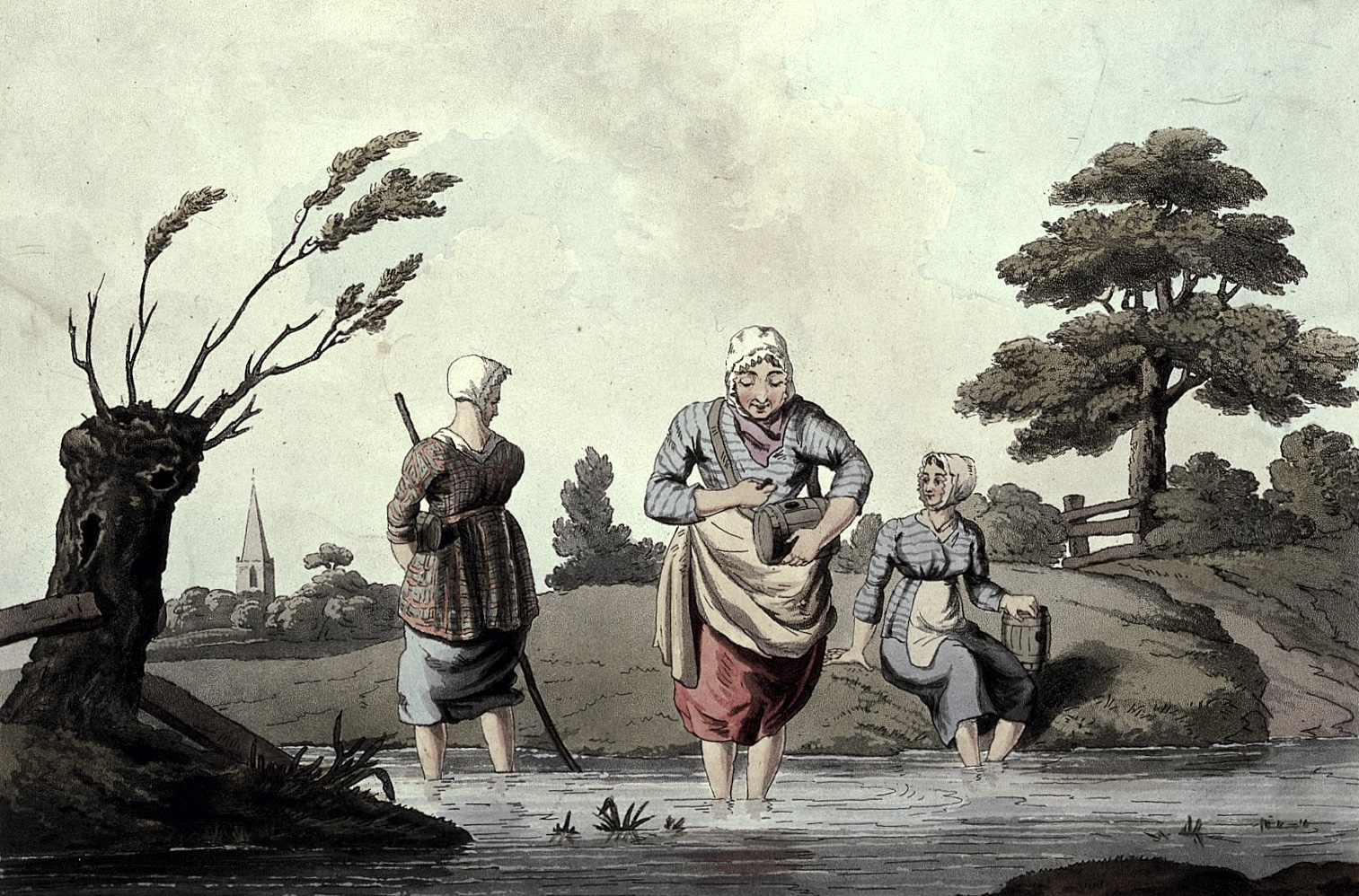 Three women wading in a stream gathering leeches