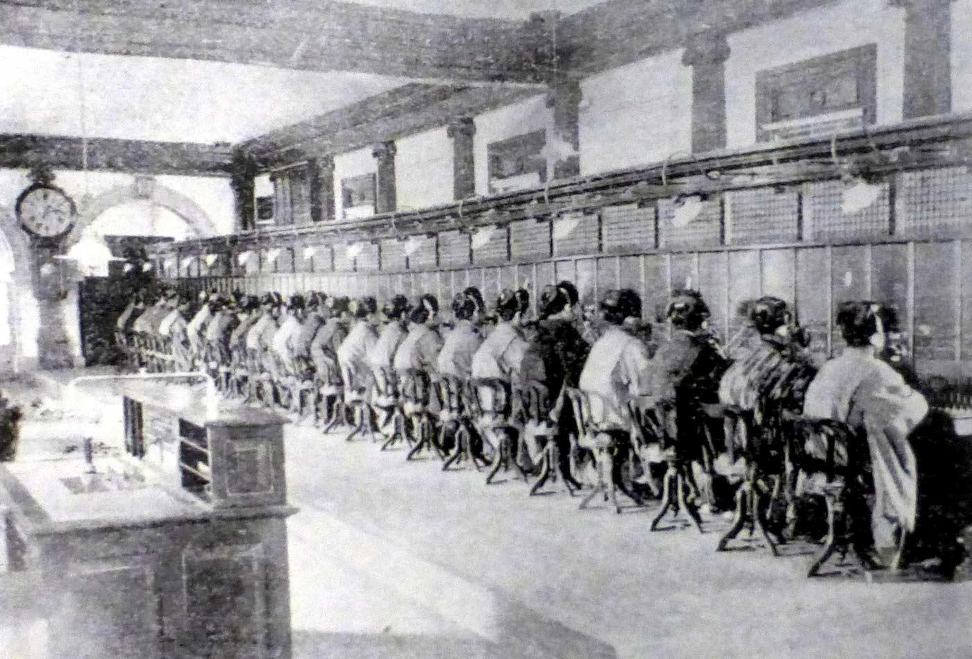 Telephone exchange operators in Yaesu, Japan, 1902.